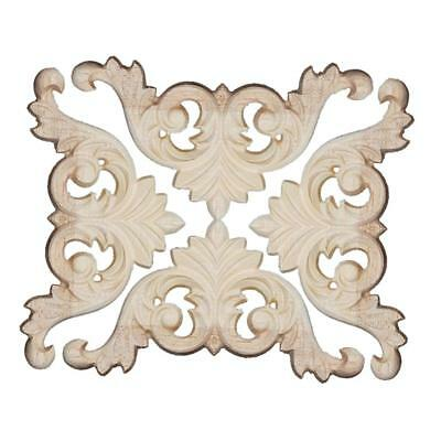 4x Retro Wood Carved Corner Onlay Applique Frame Furniture Decor Unpainted