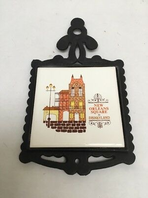 Vintage Disneyland New Orleans Square Ceramic And Cast Iron Trivet