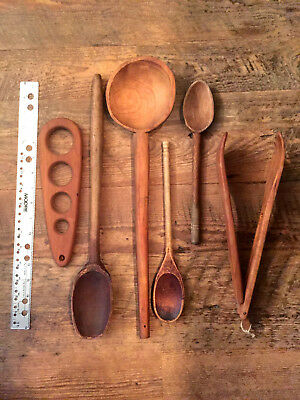 6 Antique Vintage Primitive Hand Made LARGE Wooden Spoons Tongs Measure Cherry