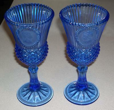 "Set of AVON George & Martha Washington Cobalt Blue 8"" Glass Goblets (1976)"