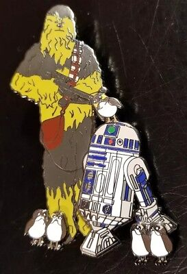 "Fantasy Pin Disney - Star Wars- Chewbacca R2D2 with Porgs LE 50 3"" Pin on Pin"