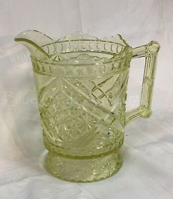 Antique 1885 EAPG Richards & Hartley #99 Mikado Yellow Vaseline Glass Pitcher