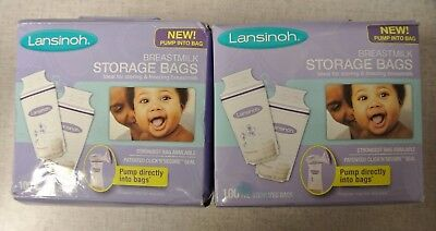 (2) Lansinoh Breastmilk Storage Bags 100 Ct BPA Free and BPS Free -- *F10*