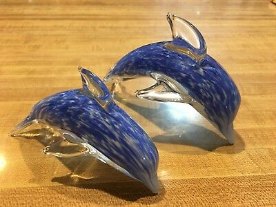 Two Vintage Mom & Baby Dolphin Glass Murano Figurines
