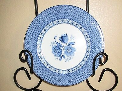"Andrea by Sadek, BLUE FLORAL/White/Cross-Hatched Porcelain Plate, 7-3/4"", NWOT"