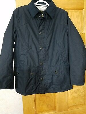 New Men's Barbour Ashby Waxed Cotton Jacket Original Tartan Size Small Navy