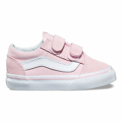 Vans Toddlers Old Skool V Chalk Pink/True White All Sizes 4-10 Fast Shipping