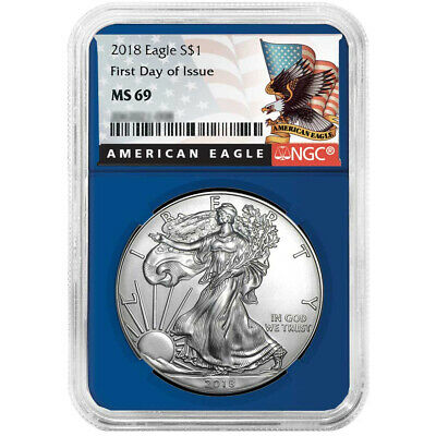 2018 $1 American Silver Eagle NGC MS69 FDI Black Label Blue Core