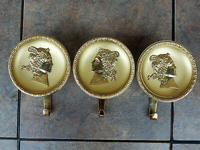 Round Mid Century Brass Coat or Hat Hook - Mercury Winged Roman God - set of 3