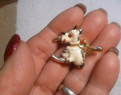 Vintage Dog Terrier Gold White Black Pin Brooch Metal Schnauzer Small 1""