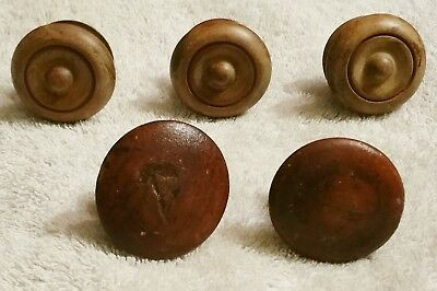 5 Antique Vintage Wooden Cabinet Door Drawer Pulls Knobs Hardware