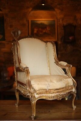 19th Century carved and gilt frame French Fauteuil armchair