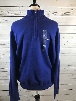 NEW Tommy Hilfiger Mens XLarge Sweater L/S Pull Over Half-Zip Elbow Patch LUX