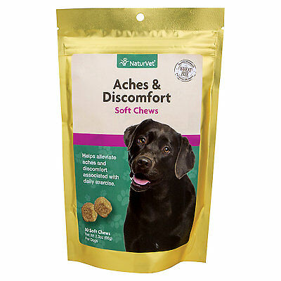 NaturVet Aches & Discomfort Hip & Joint Health Soft Chews for Dogs, 2.29 oz.