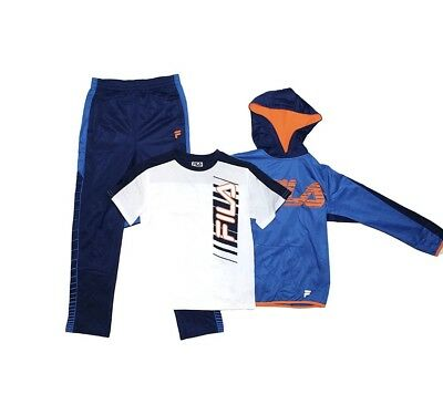 FILA Boys Athletic Logo 3 Piece Activewear Hoodie and Pants Set NWT- CHOOSE SIZE