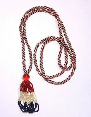 Vintage Art Deco WW1 PATRIOTIC Glass Sautoir Tassel Flapper Pendant Necklace