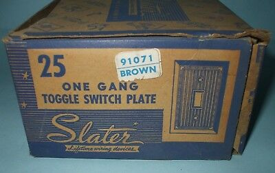 Vintage Slater Bakelite Brown Ribbed Toggle Switch Plate'S Qty. 25 Nos
