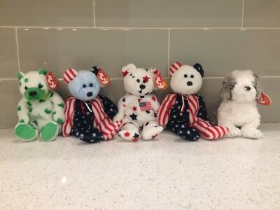 Ty Beanie Babies, lot of 5: Clover, Glory, blue Spangle, white Spangle & Herder