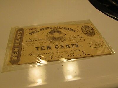 Uncirculated 1863 Ten Cent State Of Alabama Csa Notes