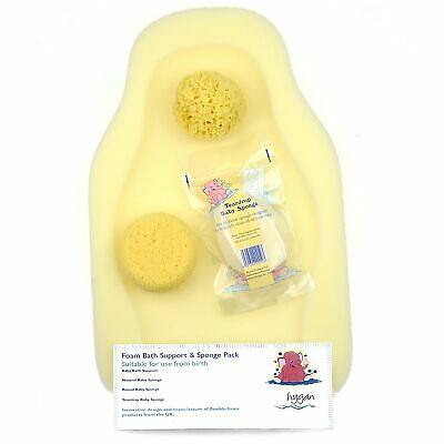 Hygan Newborn Baby Bathing Foam Bath Support & Sponge Pack
