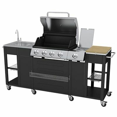 Outdoor BBQ Barbecue 4 Burners Gas Side Burner Grill Garden Kitchen 8 wheels NEW