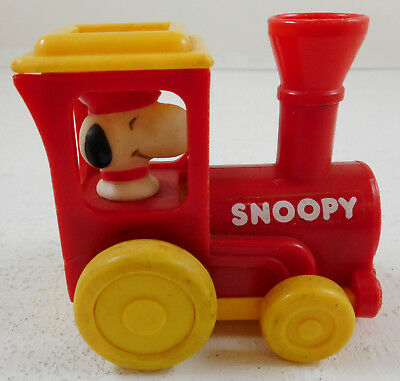 Vintage Aviva Peanuts Snoopy Train Locomotive Red Yellow Plastic Cake Topper Toy