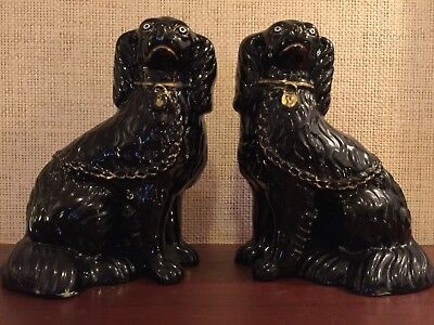 Antique pair of Staffordshire black Jackfield mantle Spaniel Dogs figurines