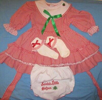 Vtg Martha`s Miniatures Red & White Xmas Party Dress 18-24 mo Ruffle We`re Fussy
