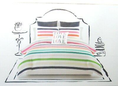 Kate Spade Candy Stripe Twin Xl Cotton Comforter Set 2pc Dorm