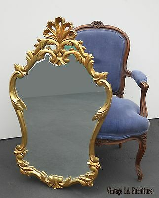 Vintage Rococo French Provincial Gold Gilt Carved Wood Wall MIRROR Made in Spain