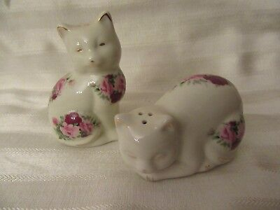 formalities by Baum Bros. Victorian Roses Cat Salt & Pepper Shakers