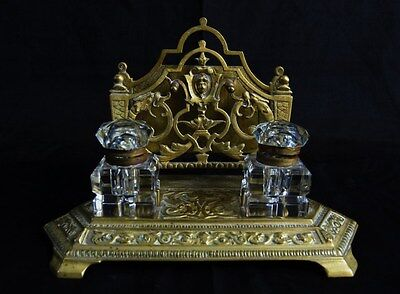 Antique Early 1900's French Bronze And Crystal Inkwells