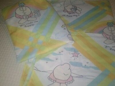 Vintage ZIGGY FULL SIZED Fitted & Flat BED SHEET/FABRIC - 1980's