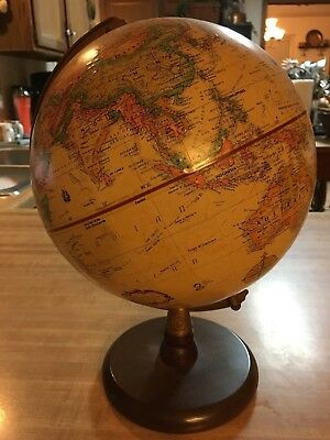 Vintage Replogle 9 Inch Diameter Globe World Classic Series Made In Usa Woodbase