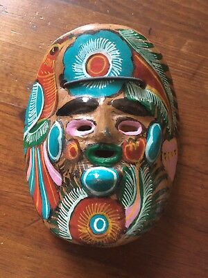 Vintage Mexico Colorful Clay Ceramic Wall Mask Bird Floral Hand Painted Folk Art