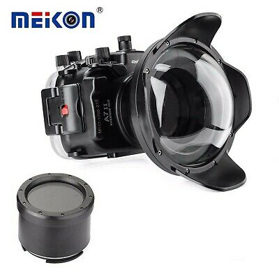 Meikon 40m/130ft Underwater Camera Housing Case for Sony A7II A7RII /w Dome Port