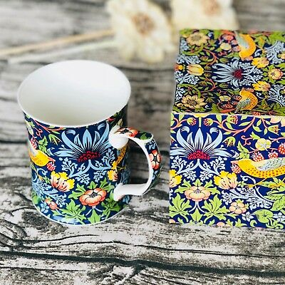 Fine Bone China William Morris Strawberry Blue Coffee Cup Tea Mug 415ml Boxed