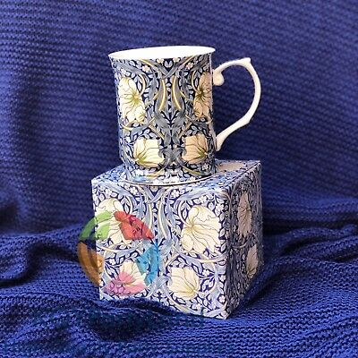 Fine Bone China William Morris Navy Blue Flower Coffee Cup Tea Mug 415ml Boxed
