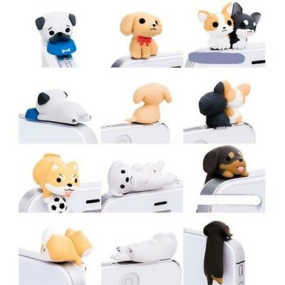 6PC Cute Puppy Dust Plug Stopper Universal For Mobile Phone Valentines Day Gift