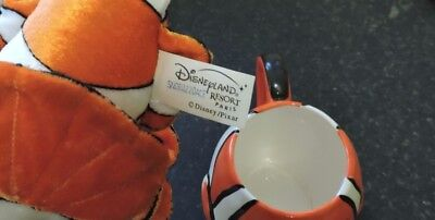 Genuine Disney Nemo Beanie Type Plush Toy with Nemo Mug