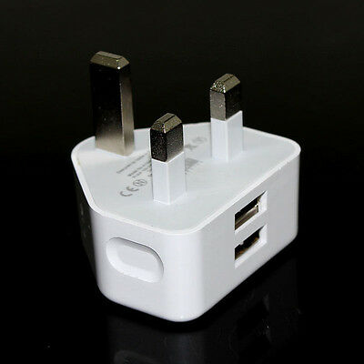 2.1A AMP Fast Dual Twin 2 Port USB Charging UK Mains Wall Plug Adapter 3 Pin
