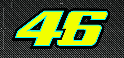 2 x ROSSI 46 FLUORESCENT STICKERS/DECALS - LARGE 250mm - Printed and Laminated