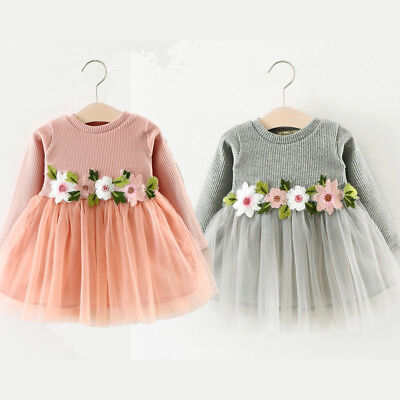 Baby Toddler Girls Kid Knitted Cotton Floral Pompom Princess Party Dress Costume