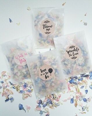 CONFETTI PACK : Glassine Bags + Stickers Pink Rose Petal, Ivory,Purple and Blue