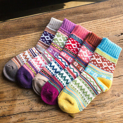 1/5 Pairs Women Wool Cashmere Warm Soft Thick Casual Multicolor Winter Socks AU