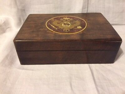 Russian box with double-headed eagle crest coat of arms