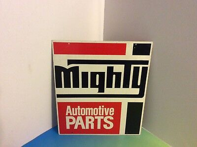 Nice Vintage Metal Two Sided Sign Mighty Automotive Parts Advertisement