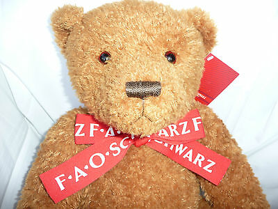 F.A.O Schwarz Collectible Teddy Bear 2007 Large NWT red & white ribbon neck bow