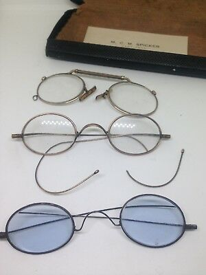 Joblot Antique Vintage Spectacles Rolled Gold,Pince Nez Glasses With Case