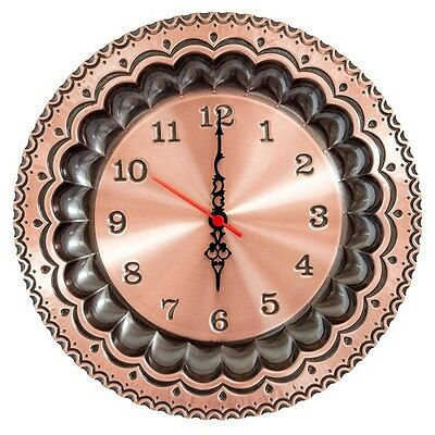 Wall clock copper polished quartz traditional dish 30 cm